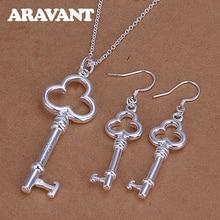 цена на 925 Jewelry Sets Charm Geometric Key Pendants Necklaces Silver Earrings Women Fashion Silver Jewelry