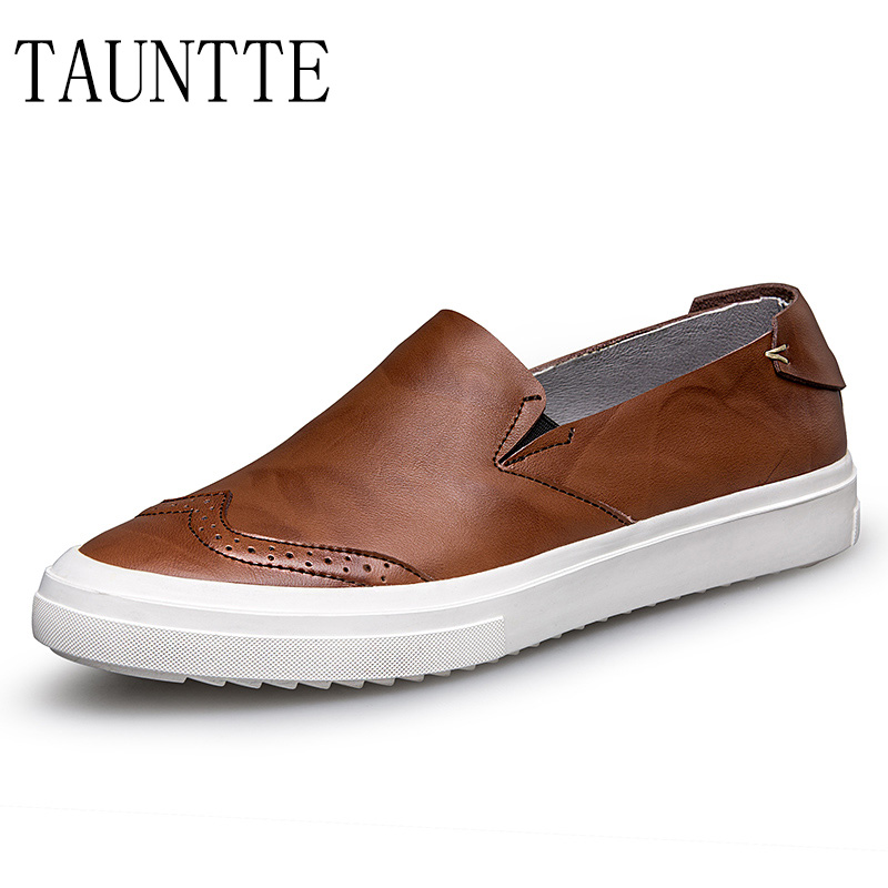 Tauntte Slip On Brogues Shoes Men Genuine Leather Loafers Breathable Male Oxfords Moccassins For Free Shipping branded men s penny loafes casual men s full grain leather emboss crocodile boat shoes slip on breathable moccasin driving shoes