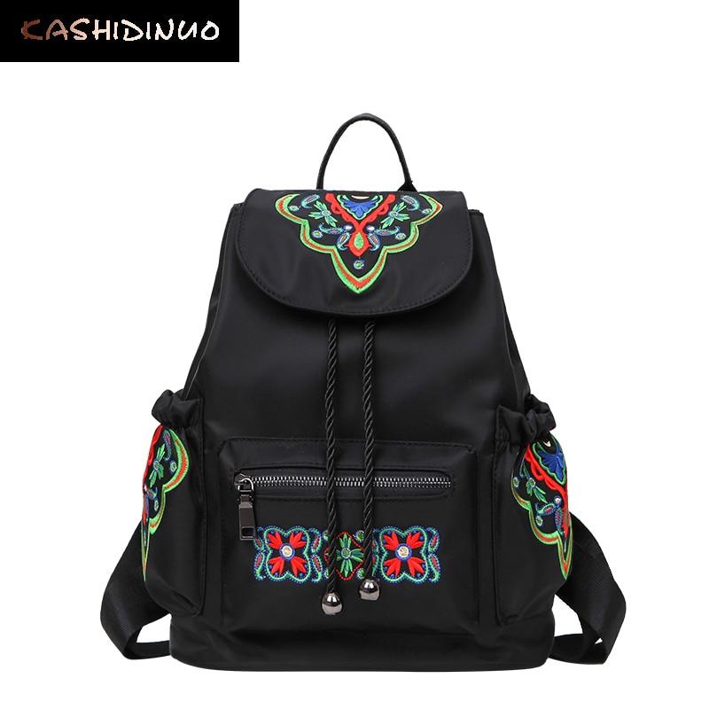 KASHIDINUO Brand National Women s Nylon Backpacks Vintage School Students Bags waterproof Girls Female Embroidered Bags
