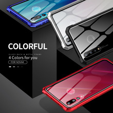 Luxury Metal Frame Bumper For Huawei Nova 4 Case Clear Tempered Glass Back Cover Armor 6.4 inch