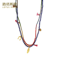 Lotus Mann Free love and lucky lapis lazuli and red golden rice bead multielement double necklace 0825