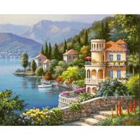 Hand Painted contemporary decorative art coastal landscapes Oil painting on canvas Lakeside Villa wall decor High quality