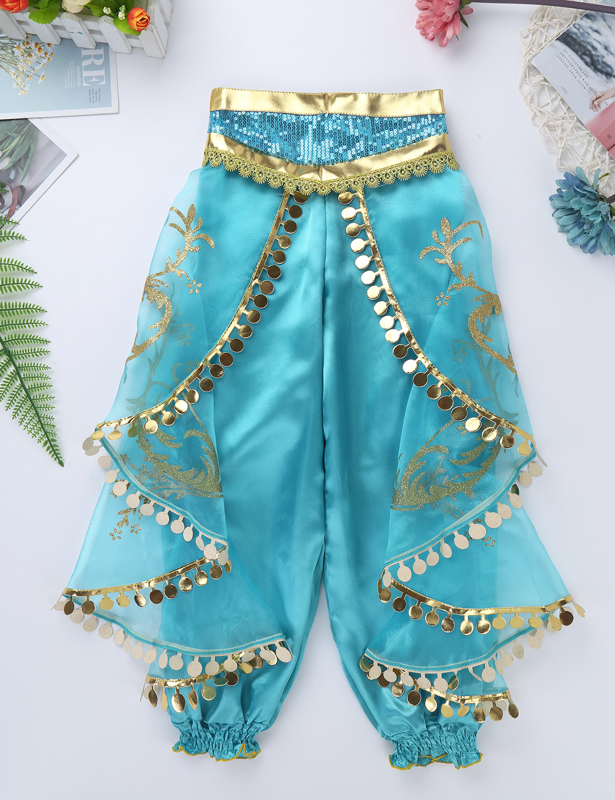 Image 5 - Kids Girls Princess Glittery Sequins Rhinestone Costume Outfit Off Shoulder Crop Top with Pants Halloween Cosplay Party Dress Up-in Girls Costumes from Novelty & Special Use