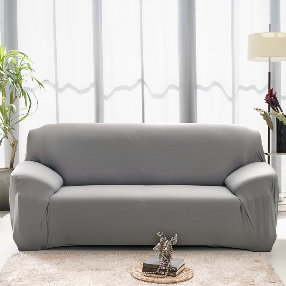 Machine Washable Spandex Elasticity Couch Cover Sectional Sofa Furniture Slipcover Cover Pure Color 2/3 Seater