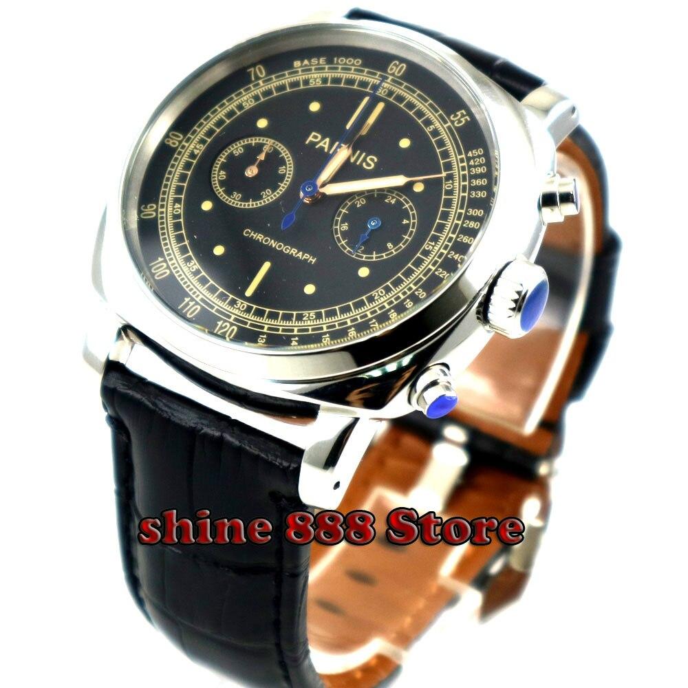 럭셔리 브랜드 44mm parnis 블랙 다이얼 솔리드 케이스 스톱 워치 풀 크로노 그래프 풀 스틸 방수 쿼츠 시계-에서수정 시계부터 시계 의  그룹 1
