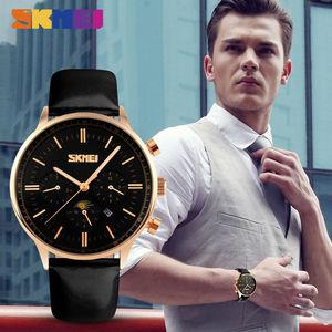 Image 3 - SKMEI Relojes de pulsera para hombre, de cuarzo, de negocios, resistente al agua hasta 30M, informal, de cuero, Masculino, 9117