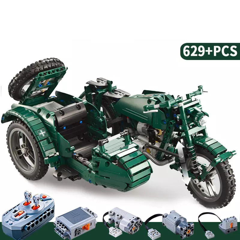 C51021 629pcs World War II Motorcycle Technic Military Remote Control RC Building Block Weapon Army Technic Series ...