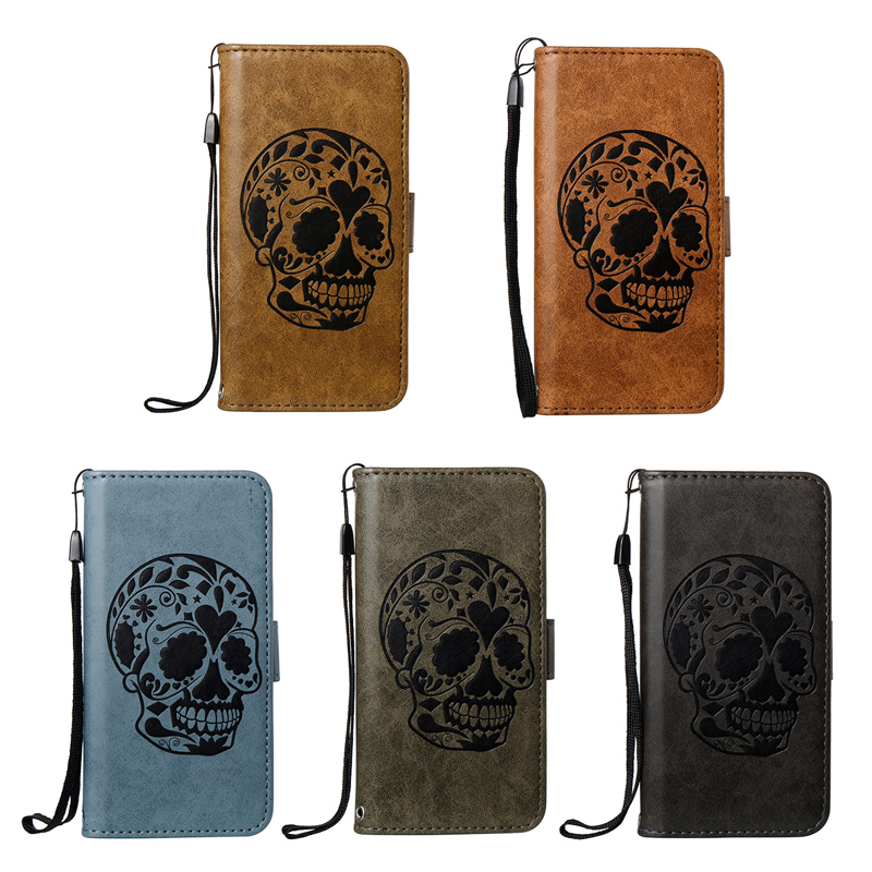 for LG K20 Plus Case Fashion Skull Pattern Magnetic Wallet PU Leather Case Cover For LG K10 2017 Flip Case Coque Fundas Capa