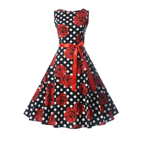 Fenghua 2017 Spring Summer Audrey Hepburn Dress Vintage Elegant Party Dresses Short Ball Gown Plus Size