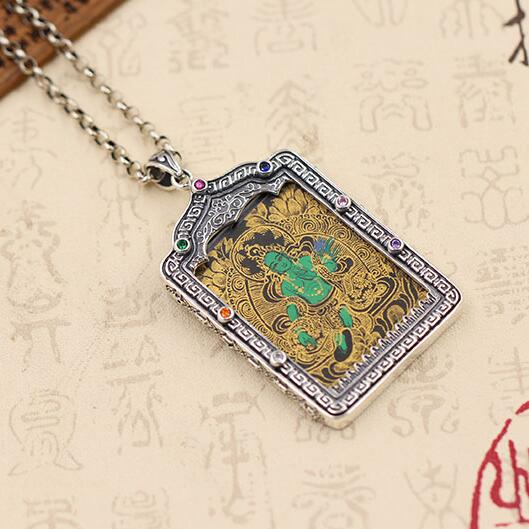NEW 925 Silver Tibetan Green Tara Thangka Pendant Necklace Pure Silver Buddhist Tara Buddha Necklace Pendant free shipping vacuum suction pen qs 2008 for ic smd suction pick up