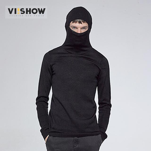 VIISHOW hombres de Cuello Alto Suéter Pullover Hombres Suéter Kintted Suéter para Los Hombres Marca Slim Fit Casual Negro de la Aptitud ZC45863