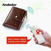 Genuine Leather Men Wallet Rfid Bluetooth Alarm Smart Men Purse With Alarm GPS Map Brand Design Wallets Short Coin Purse Zipper