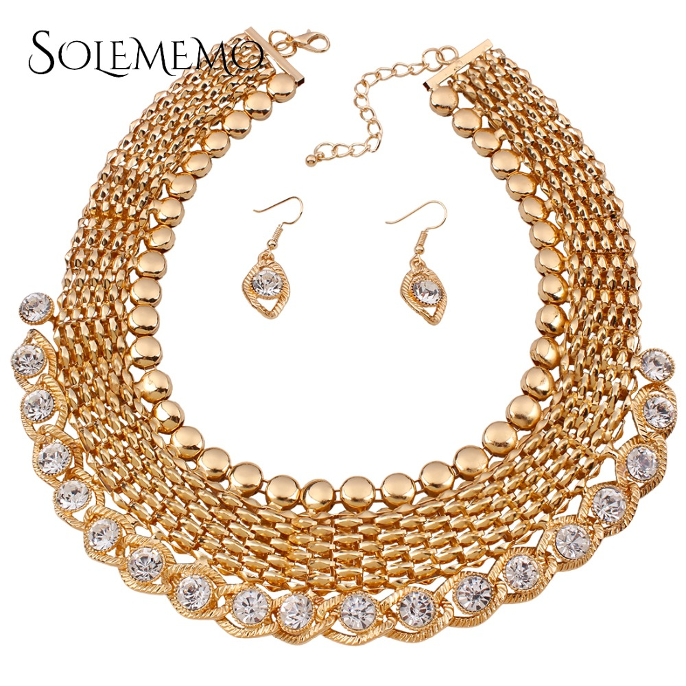 Fashion Vintage Necklace Earrings Wedding Bridal Jewelry Sets For Women  Gold Color Necklace Marriage African Jewelry