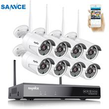 SANNCE 8CH اللاسلكية نظام الدائرة التلفزيونية المغلقة 1080P 2.0MP NVR IP IR CUT في الهواء الطلق كاميرا تلفزيونات الدوائر المغلقة IP نظام الأمن طقم مراقبة الفيديو
