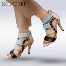 цена на Size 34-43 Fashion Summer Women's sandals Boots Thin High Heels Shoes Ankle Strap Gladiator Zapatos Mujer Tacones Rivets Pumps