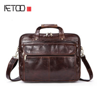 AETOO Leather men bag wholesale first layer of leather business package briefcase three main bag design leather handbag