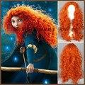 55 см коробка фильм храбрый мерида принцесса волос парик длинные африка оранжевый вьющиеся волнистые парики косплей теплоизоляционный слой Custume парик
