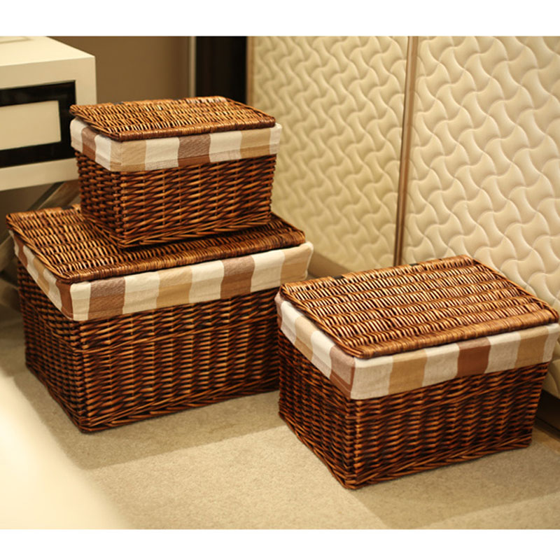 Classic Handwoven Household Wicker Storage Basket With Lid Cloth Liners Large Laundry