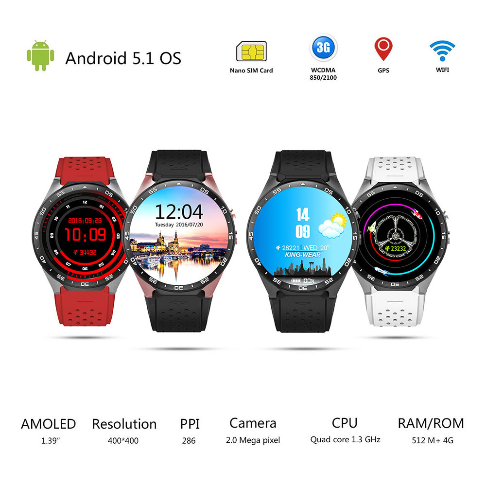 Volemer KW88 3G WIFI Smartwatch Cell Phone All-in-One Bluetooth Smart Watch Android 5.1 SIM Card GPS Camera Heart Rate Monitor dm2018 smart watch android gps sports 4g smartwatch phone 1 54 inch bluetooth heart rate tracker monitor pedometer pk kw88 dm98