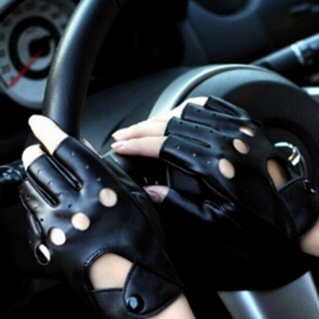 Car driving gloves india - Delicated Hollow Half Finger Gloves For Women Driving Gloves Pu Leather 1pair China Mainland