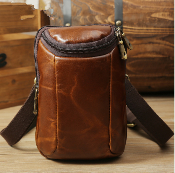 Mens bag retro mens shoulder messenger bag waist bag light brown