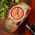 BEWELL Мужчины Кварцевые Часы Ручной Работы Красочные древесины Бамбука Модные Водостойкой Мужчины Аналоговые Наручные Часы relógio masculino
