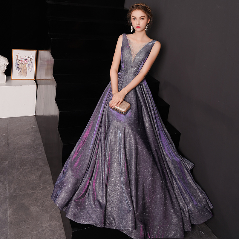 Free Shipping   Evening     Dress   Purple V-neck Tank Formal A-line Prom   Dress   Shining Sleeveless Lace Up Long Plus Size Prom Gown E034