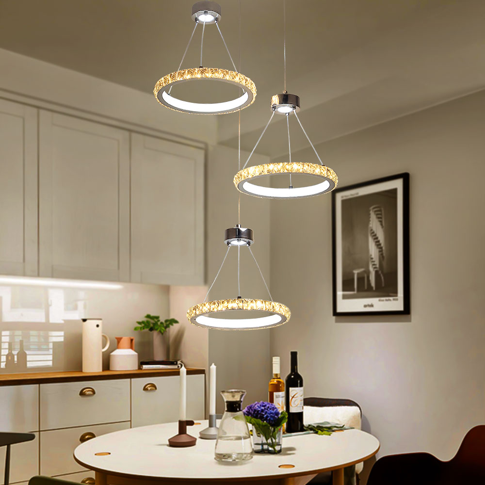 Led Crystal Chandelier Lighting Lustre Modern Hanging Lamp Chrome Ceiling Plate 3PCS Ring Restaurant Dining Room Bar Cafe Light In Chandeliers From Lights