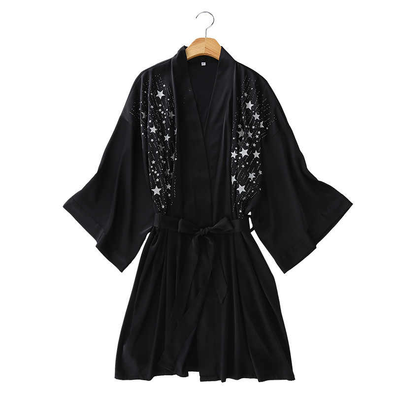 Robes Women Sleepwear Kimono Bridesmaid Robes Bathrobes Stain Dressing Gowns Stars Letters Print Pattern Cardigan Silk Robes