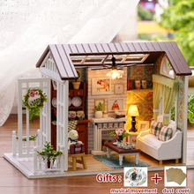 Miniatura Wooden Dollhouse Diy Kit HAPPY TIMES With Dust Cover+Music Mini Toy House Model Girl Birthday Gifts Toys for children