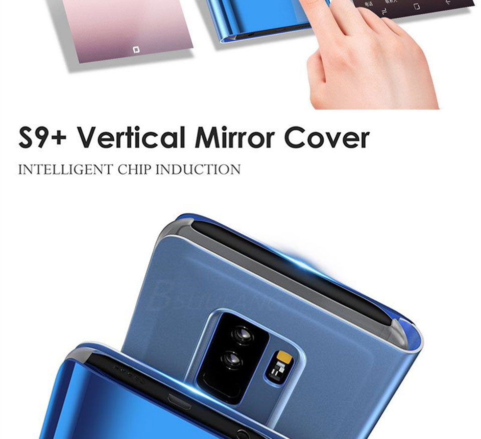 Clear View Smart Mirror Phone Case For Samsung Galaxy S8 S9 Plus S6 S7 Edge A3 A5 A7 A8 J3 J5 J7 2017 2018 Note 8 9 Stand Cover