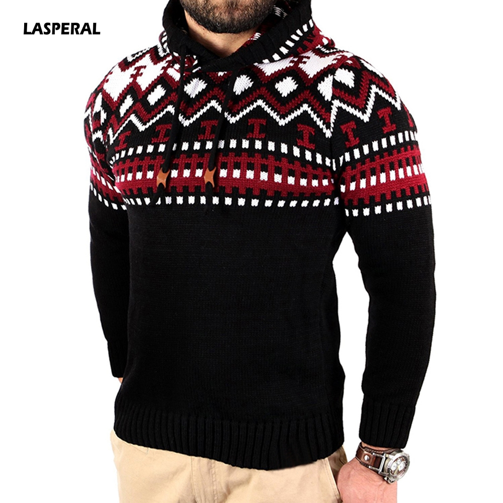 LASPERAL Mens Autumn Winter Hooded Knitted Pullover Hooded Sweater Jackets Man Hooded Homme Sweater Outwear Long Sleeve Sweaters