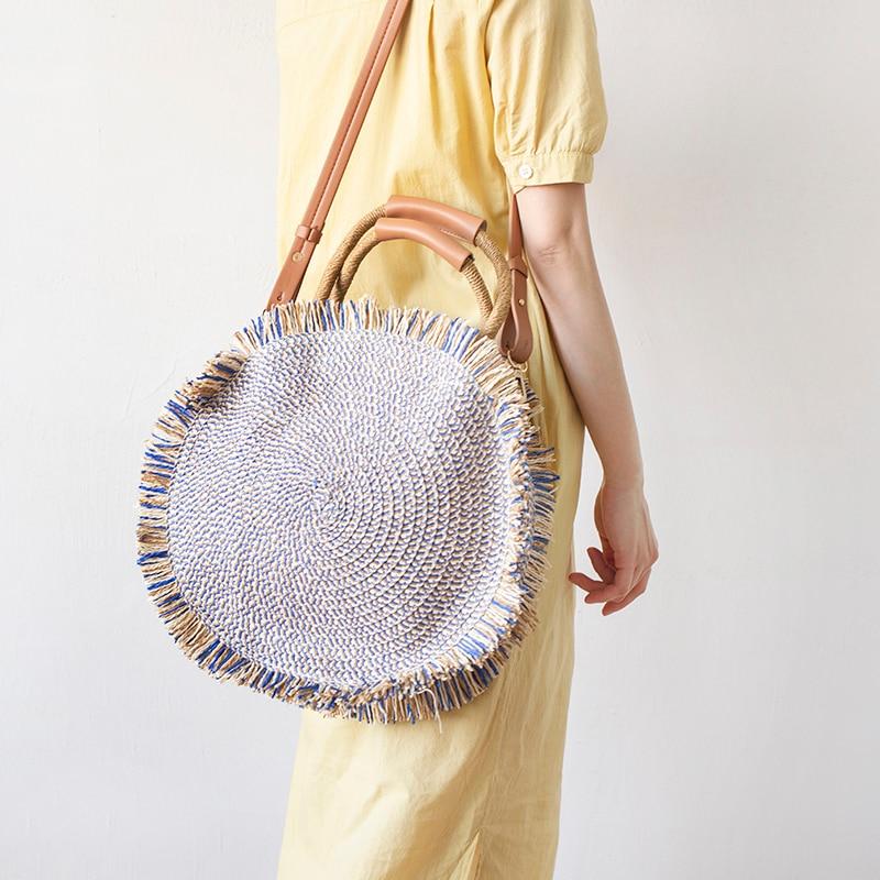 Bohemian Round Straw Bags Rattan Women Handbags Handmade Woven Totes Wicker Shoulder Crossbody Bags Large Summer Beach Bag Purse