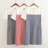 Plus Size Summer Women Casual Striped Patchwork V Neck Short Sleeves Dress 2018 New Pockets Cotton