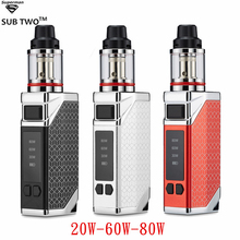 SUB TWO BOX 80W VAPE Kit 2200mah Battery Electronic Cigarette Adjustable Wattage Led Light Display Vape Pen Huge Vapor Mod original marvec mv pod starter kit with led screen 400mah adjustable wattage battery mod 2ml cartridge e cigarett vape pen vapor