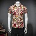 2 Цвет Мужчины Повседневная Рубашка Мода 2017 Летний Новый Slim Fit Мужская рубашки С Коротким Рукавом Turn Down Воротник Цветочный Рубашка Для Мужчин Блузки