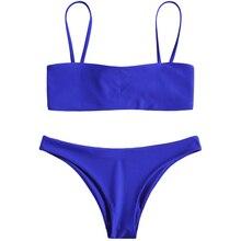 ZAFUL Women Straps Bikini Set Cami Bralette Tied Reversible Bikini 2019 Swimwear Lady Sexy Summer Beach Swimsuit Bathing Suit calico print cami bikini set