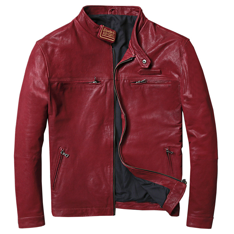 Coat Biker Leather Jacket Sheepskin Motorcycle Winter Real Casual Autumn Male Slim Jaqueta-De-Couro