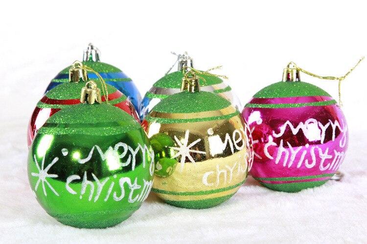 6 Pcs 8 Cm Feliz Natal Bolas Colorido Desenho Bolas De Natal Para