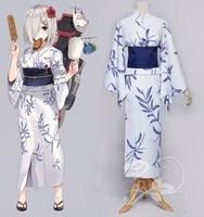 Sıcak Oyun Kantai Koleksiyonu cosplay çünkü Hamakaze Japon tarzı kız beyaz kimono kostüm (kimono + kemer + yay)