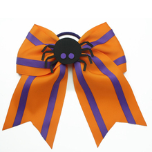 7 Inch  Halloween spider Hair Bows Printed stripes cheer bows With Elastic Bands Kids Girls Accessories clip