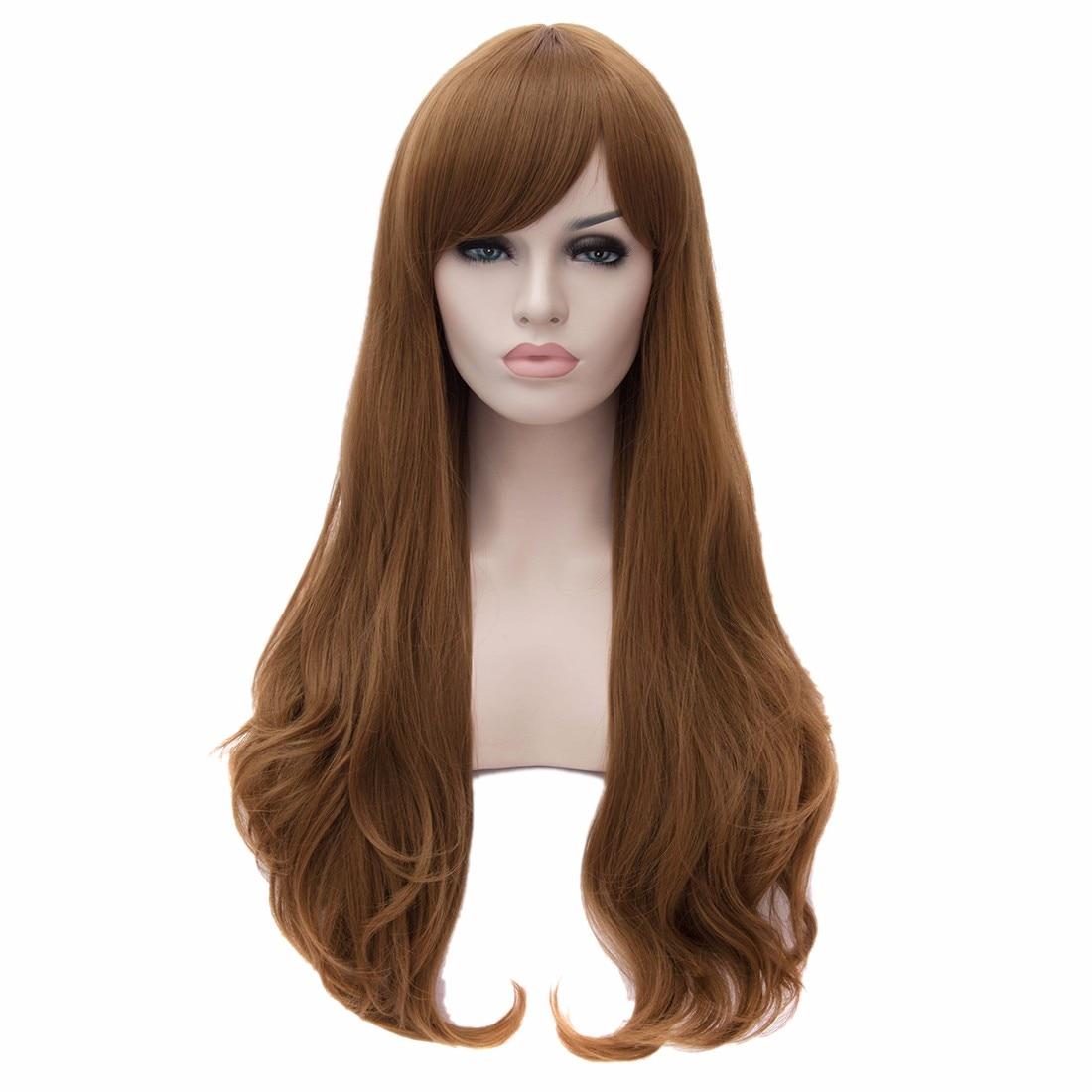 nuevas mujeres peluca marrn rizado ondulado pequeo capas moda corte de pelo long resistente pelucas perruque peluca peruca en pelucas sintticas de