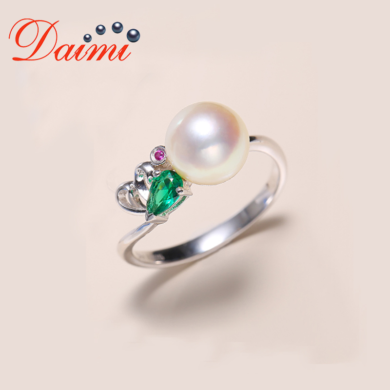 DAIMI 925 Silver Ring 8-8.5mm Akoya Pearl Ring Prefectly Round Pearl Ring pearl beaded ring round neck tee
