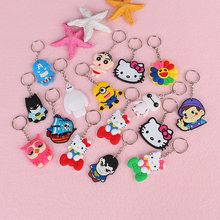 1Pcs Cute Animal Cartoon Mickey Minnie Spiderman Hello Kitty PVC Key ring Keychains Kids Backpack Accessories Key chains Gift(China)