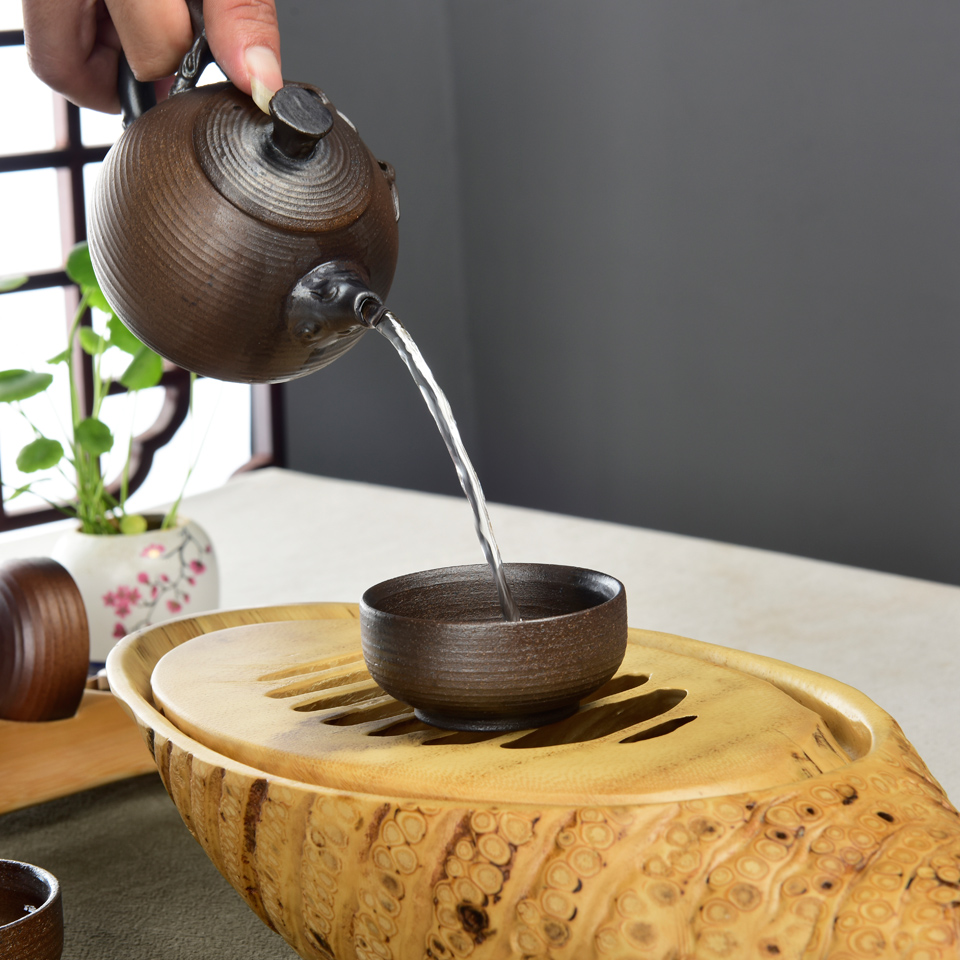Natural bamboo root dry bubble plate old bamboo root tea under the pot holding dry tea tray Kung Fu tea table