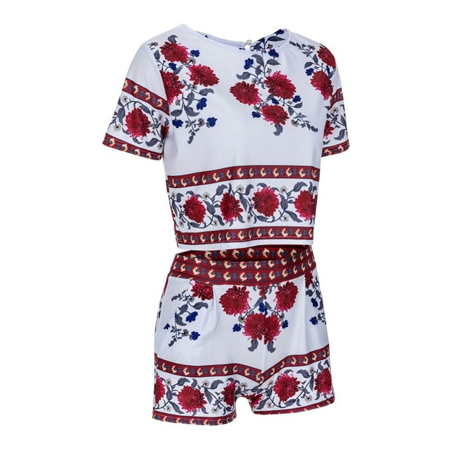 Adogirl Summer 2 Pieces Sets Women Floral Printed Short Sleeve O-Neck Crop Tops and Shorts Casual Outfits Summer Tracksuits 2016