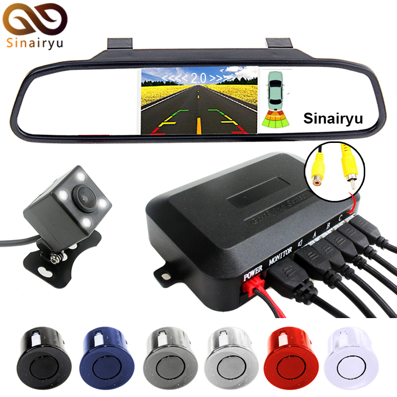 Sinairyu 3 in 1 Car  Parking Assistance System With Rear View Camera+4.3 inch LTF LCD Car Mirror Monitor+Video  Parking Sensor for ford escape maverick mariner car parking sensors rear view back up camera 2 in 1 visual alarm parking system