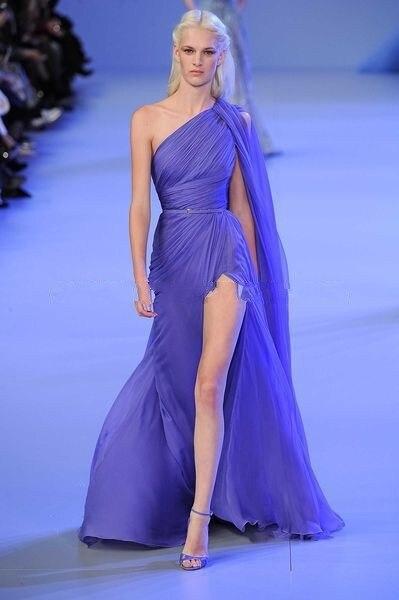 Vestido De Festa 2018 New Arrival Hot&Sexy Grecian one shoulder Chiffon Purple Elegant Long kaftan Haute   bridesmaid     dresses