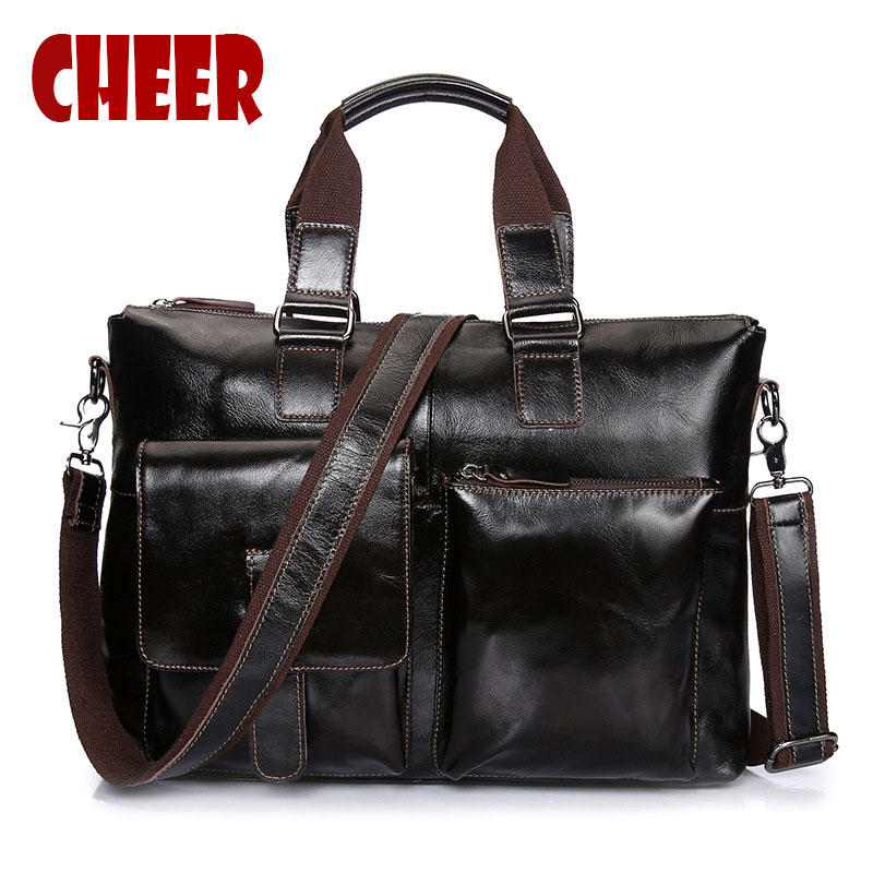 Genuine leather business briefcase handbag Men 's shoulder bags Laptop bag Luxury soft skin handbags high quality men travel bag