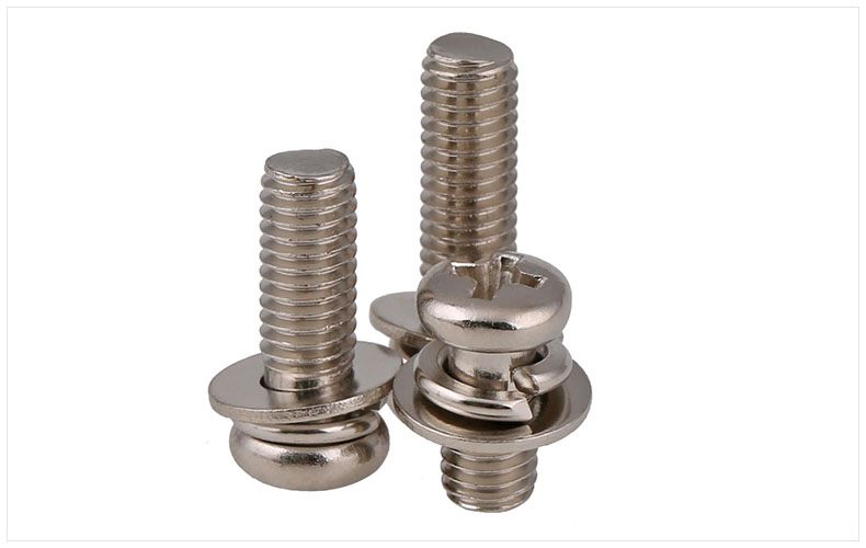 Carbon steel Nickel-plated round head Three combination screw M2 M3 M4 M5 M6 screws free shipping iso7380 304 stainless steel round head screw m3 m4 m5 m6 screws hex socket screw three combination 2018 hot